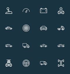 Car outline icons set collection of wheel vector