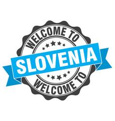 Slovenia round ribbon seal vector
