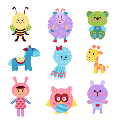 cute cartoon baby toys and animals set of colorful vector image