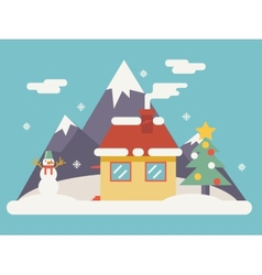 New year landscape christmas accessories icons vector