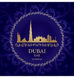 Dubai skyline silhouette on vintage background vector image