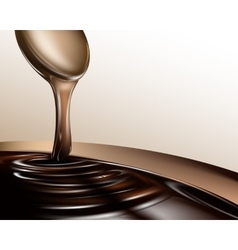 Liquid chocolate dripping from a spoon vector image