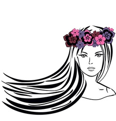 Girl with long hair in wreath of flowers vector