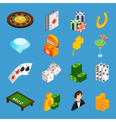 Casino isometric icons set vector