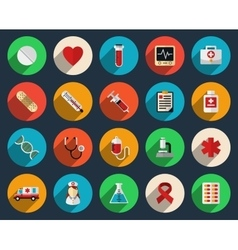 Health care and medicine icons in flat style vector