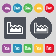 Chart icon sign a set of 12 colored buttons flat vector