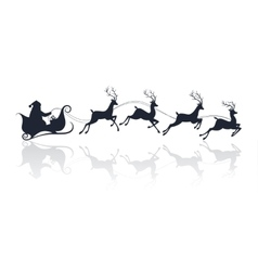 Santa claus silhouette riding a sleigh with deers vector