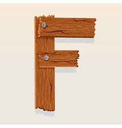 Wooden letter f vector