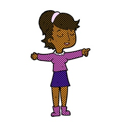 Comic cartoon happy woman pointing vector
