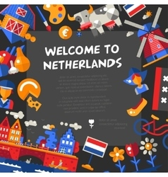 Holland travel icons postcard with famous dutch vector