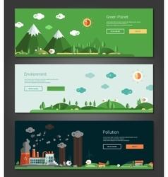 Flat design natural and ecological landscapes vector