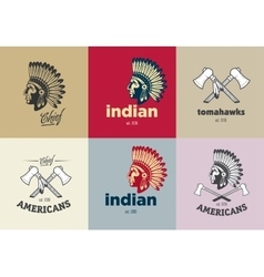 Set of american indian emblems labels and badges vector