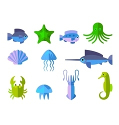 Set of flat icons with aquatic animals vector