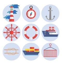 Sea port flat icons set vector