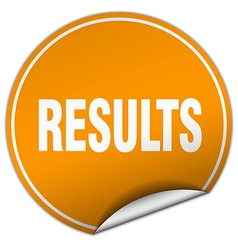 Results round orange sticker isolated on white vector
