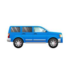 Blue sport utility car in simple cartoon style vector