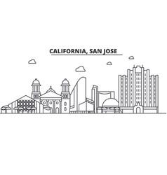 California san jose architecture line skyline vector