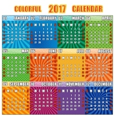 Colorful calendar for 2017 year vector