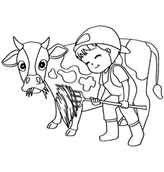 Coloring book child feeding cow vector