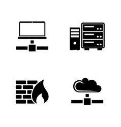 computer network simple related icons vector image vector image