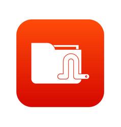Computer worm icon digital red vector