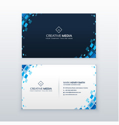Creative blue business card with mosaic elements vector