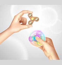 Finger spinner fidget hand realistic vector