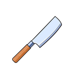 flat cartoon butcher cleaver knife isolated vector image