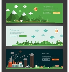 Flat design natural and ecological landscapes vector image