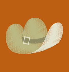 flat shading style icon clothes cowboy hat vector image vector image