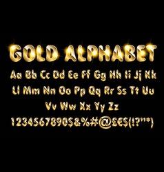 Golden alphabet letters numbers vector image