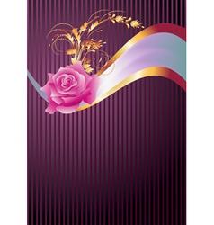 Golden ornament rose and elegant ribbon vector image vector image