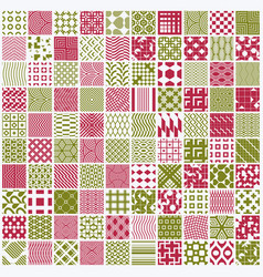 Graphic red and green ornamental tiles collection vector