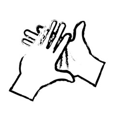 Hand man clap gesture icon sketch vector