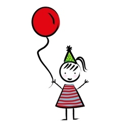 Happy girl with balloon drawn isolated icon design vector image
