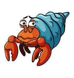 Hermit crab with sad smile vector