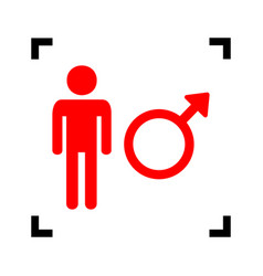 Male sign red icon inside vector