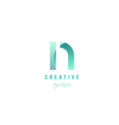 N green pastel gradient alphabet letter logo icon vector