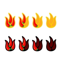 Red peppers as fire flames logo vector image