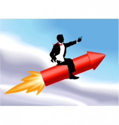 rocket business man vector image vector image