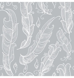 Seamless pattern with white outline feathers vector