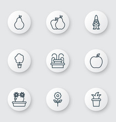 set of 9 gardening icons includes wood pot vector image vector image
