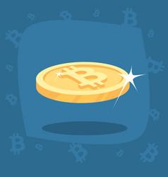 Shiny gold bitcoin coin with lens flare vector