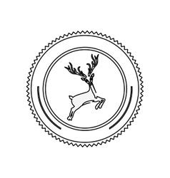 Silhouette circular border with reindeer vector