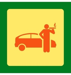 Smoking taxi driver icon vector image