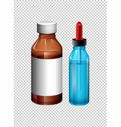 two bottles contain medicine vector image vector image