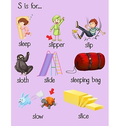 Many words begin with letter s vector