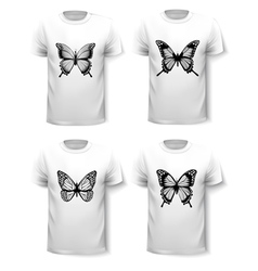 Set of shirt templates with butterfly designs vector