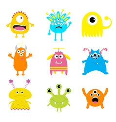 Monster big set cute cartoon scary character baby vector