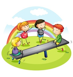 Many children playing seesaw in park vector image
